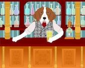 Beagle Dog Bartender Beer Pub Pet Breed Cute Funny Pop Art Print