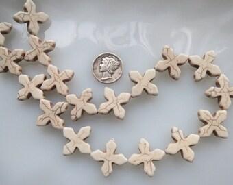 White Turquoise Howlite Cross Beads 20x20mm Half Strand