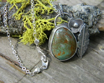 Natural Old Stock Royston Turquoise Pendant - sterling silver pendant necklace