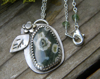 Beautuful Ocean Jasper Pendant - sterling silver pendant necklace