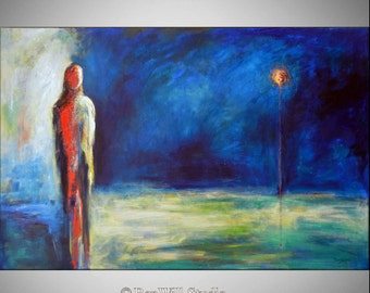 Original HUGE Abstract Painting FIGURATIVE Contemporary Art Blue 60x40 - LARGE Modern Wall Art by BenWill