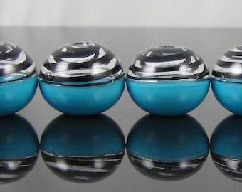 Half Swirl and Turquoise Glass Hollow Mini Beads (6)