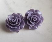 Lavender Rose Clip On Earrings, Rose Clip on Earrings, Under 10, Wedding Jewelry, Wedding Earrings,