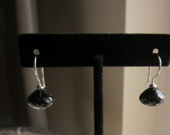 Black Spinel Earrings, Candy Kiss Earrings, Onion Shape Earrings, Black Spinel Onion Shape Earrings, Classic  Black,
