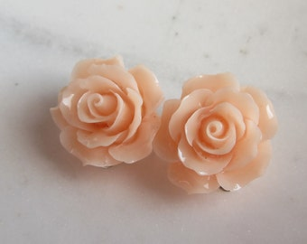 Peach Rose Clip On Earrings, Light Peach Roses, Under 10, Wedding Jewelry, Wedding Earrings,