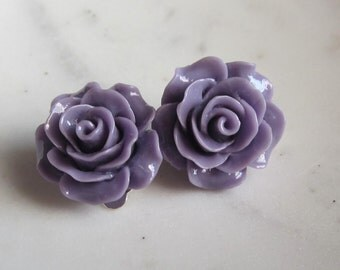 Lavender Rose Clip On Earrings, Rose Clip on Earrings, Under 10, Wedding Jewelry, Wedding Earrings,