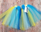 Blue & Yellow Minion Inspired Tutu with Hair Bow Size 2T-6