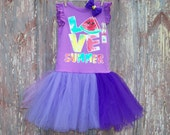 Purple Love Summer Tutu Dress with Bee Hair Bow Size 5T- 6