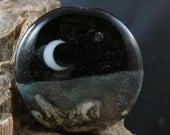 Stars Moon Glass Pendant Lampwork Bead Handmade