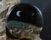 Moon Stars Pendant Glass Bead Lampwork Handmade