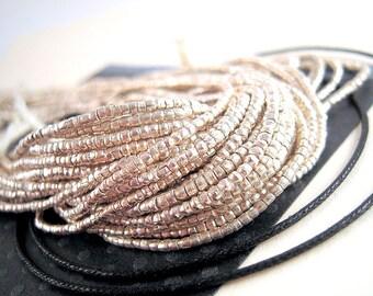 TINY Ethiopian Metal Heishi Beads, African Metal Beads, FULL Strand, 1mm Silver Beads, African Silver Heishi Bead, Silver Spacer Bead, HO05