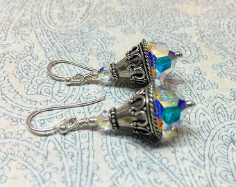 Painting the Dawn, Earrings, Crystal and Bali Silver Earrings, Aurora, Goddess of the Dawn