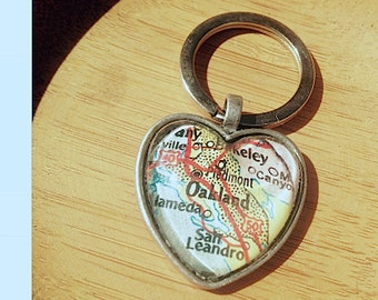 Oakland Berkley San Leandro Map Heart Pendant/Keychain - Alameda Map Jewelry - Glass Pendant - chain sold separately
