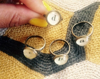Rustic Initial Personalized Letter Ring - Adjustable - Handmade Glass Bauble - Letter Ring Jewelry - Bridesmaids Wedding Jewelry Bulk orders
