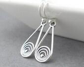 Silver Drop Earrings Small Silver Earrings Teardrop Earrings Sterling Silver Art Deco Jewelry Gift for Her Modern Edge
