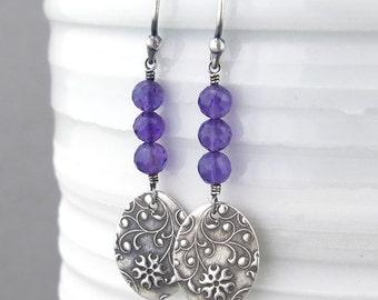 Sterling Silver Earrings Amethyst Earrings Purple Earrings February Birthstone Jewelry Gemstone Drop Earrings Boho Jewelry - Tracey