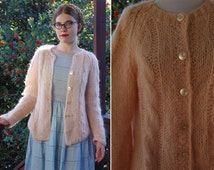 FUZZY Peach 1940's 50's Light Pink Peach Mohair Wool Cardigan Sweater with Big Buttons // size Medium // TAM Italia // Made in ITALY