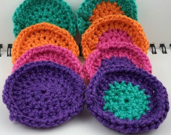 Set of 8 Cotton/Silk Blend Mini Washcloths in Bright Colors
