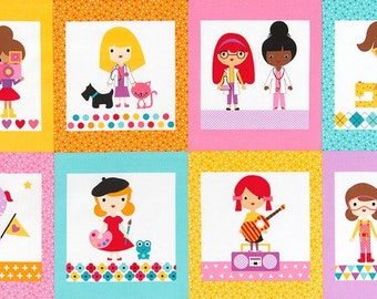 Girlfriends by Anne Kelle Career Girls Bright PANEL Quilter Cotton Robert Kaufman 1 Yard