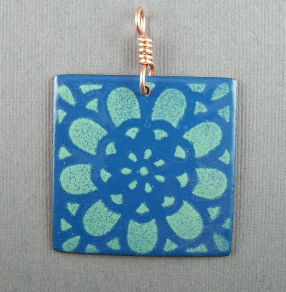 Enameled Teal and Mint Green Square Pendant