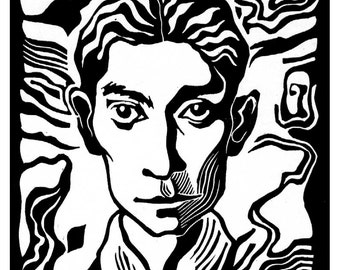 Franz Kafka linocut portrait