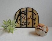 SALE, Fairy Door, Garden Sculpture,Outdoor Garden Art,Indoor Home Decor, Stained Glass, Fairy Garden Accessories, Terrarium Decor, Beige