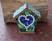 RESERVED for PHILL Blue Heart Mosaic Birdhouse