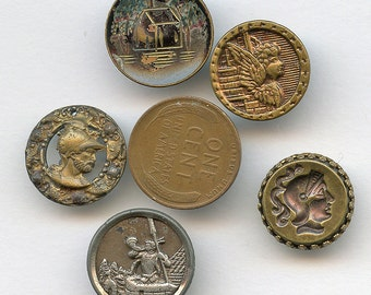 Lot of (5) Antique Victorian Metal Picture Buttons small size Pictorial Angel House Warrior Trumpeter 1415