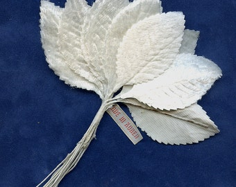 Vintage WHITE Velvet MILLINERY LEAVES (12) One Dozen Vintage 1440