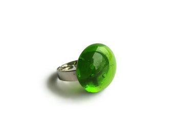 Womens Green Glass Gem Ring, Adjustable Cute Statement Solitaire Cocktail Translucent Gem Glass Jewelry, Gifts for Her Under 10 Bridesmaids
