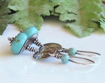 Southwest Turquoise Gemstone Earrings Disc Earrings Sterling Silver Earrings