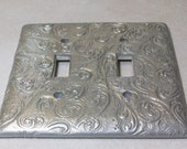 custom listing reserved for Nancy: Silver Swirls triple and single toggle light switch cover