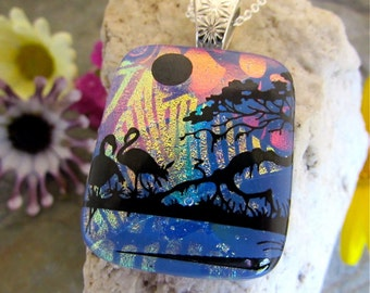Dichroic Glass Pendant Stunning Birds & Tree Multilayered Fused Glass