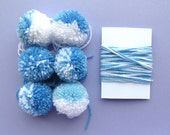 6 Pompoms + Yarn for Gift Wrapping, Blue & White (I)