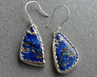 Sterling Silver Blue Azurite Drop Earrings