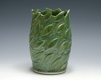 Spring Green Vase with Carved Leaf Design