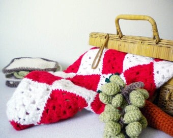 Crochet Picnic Blanket in Bright Red and White - Checkered Blanket - Great Gift for Baby Showers or Newborns