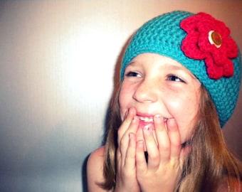 Crochet Beanie with Flower in Tiffany Blue - crochet winter hats for women - winter hats for baby girls