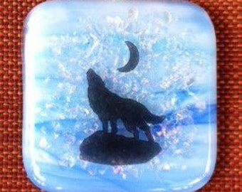 Sky Blue Dichroic Fused Glass Pendant With Howling Wolf Decal
