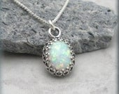 Opal Necklace, Opal Jewelry, October Birthstone Necklace, Birthstone Jewelry, Gemstone Necklace, Oxidized Necklace, Cabochon Necklace SN901