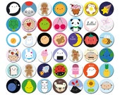 Pick 'n' Mix Kawaii Badges - choose any 1, 2, 4 or 10 designs