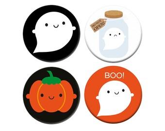 Kawaii Halloween Badge Set - Ghosts and Pumpkins