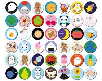 Pick 'n' Mix Kawaii Badges - choose any 1, 2, 4 or 10 designs