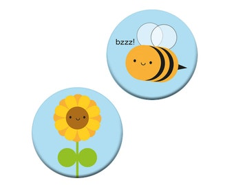 Sunflower & Bee Badge Set - Kawaii Summer