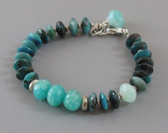 Chrysocolla Amazonite Bracelet Peruvian Opal Sterling Silver Bead DJStrang Boho Blue Green Cottage Chic