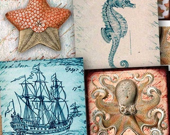 Scrabble Tile Size, 7/8 inch squares Sailing the Ocean,  Seahorses, Ships, Octopus, Starfish, Coral,  piddix digital collage sheet 1082