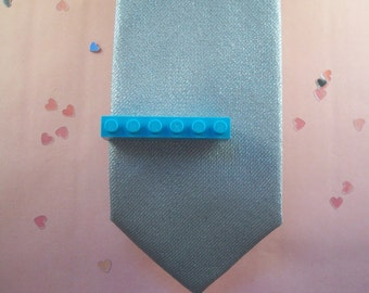 Blue Building Brick Tie Clip