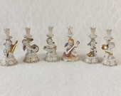 6 Angel Musician Candlesticks, Vintage Porcelain, Made in Japan, Christmas Decorating, Shabby Cottage Home Decor