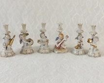 6 Angel Musician Candlesticks, Vintage Porcelain, Made in Japan, Christmas Decorating, Shabby Cottage Home Decor