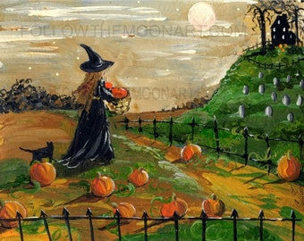 Harvest Time in the Pumpkin Patch Witch Black Cat Full Moon Halloween Quality Art Print